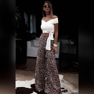 Ψηλόμεση γυναικεία χρωματιστή παντελόνα MAEVA