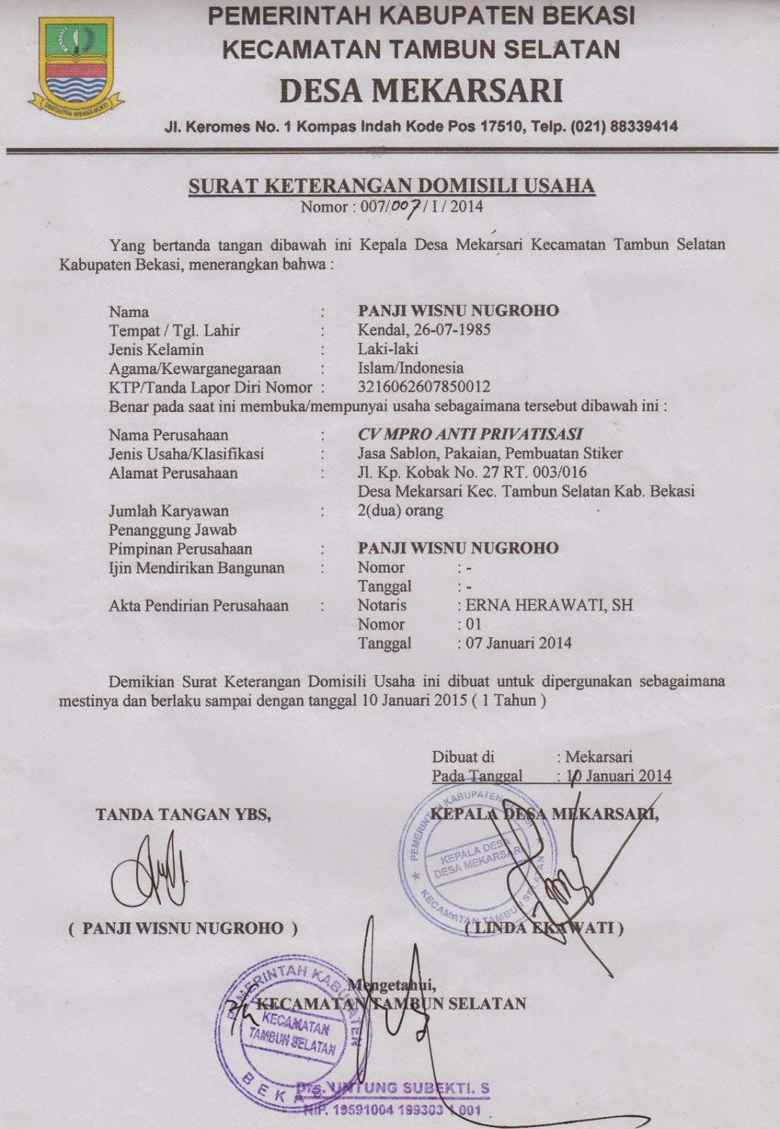 43 Terjual Jasa Pengurusan Surat Keterangan Domisili Perusahaan Karawang Kaskus Contoh Surat Keterangan Domisili Kantor