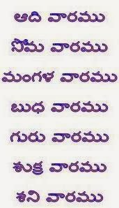 Names of weekdays in Telugu and their significance 1