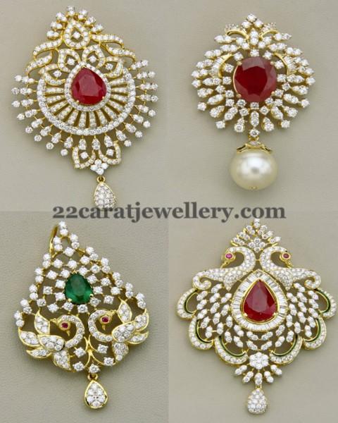 Classic Peacock Diamond Pendants Jewellery Designs