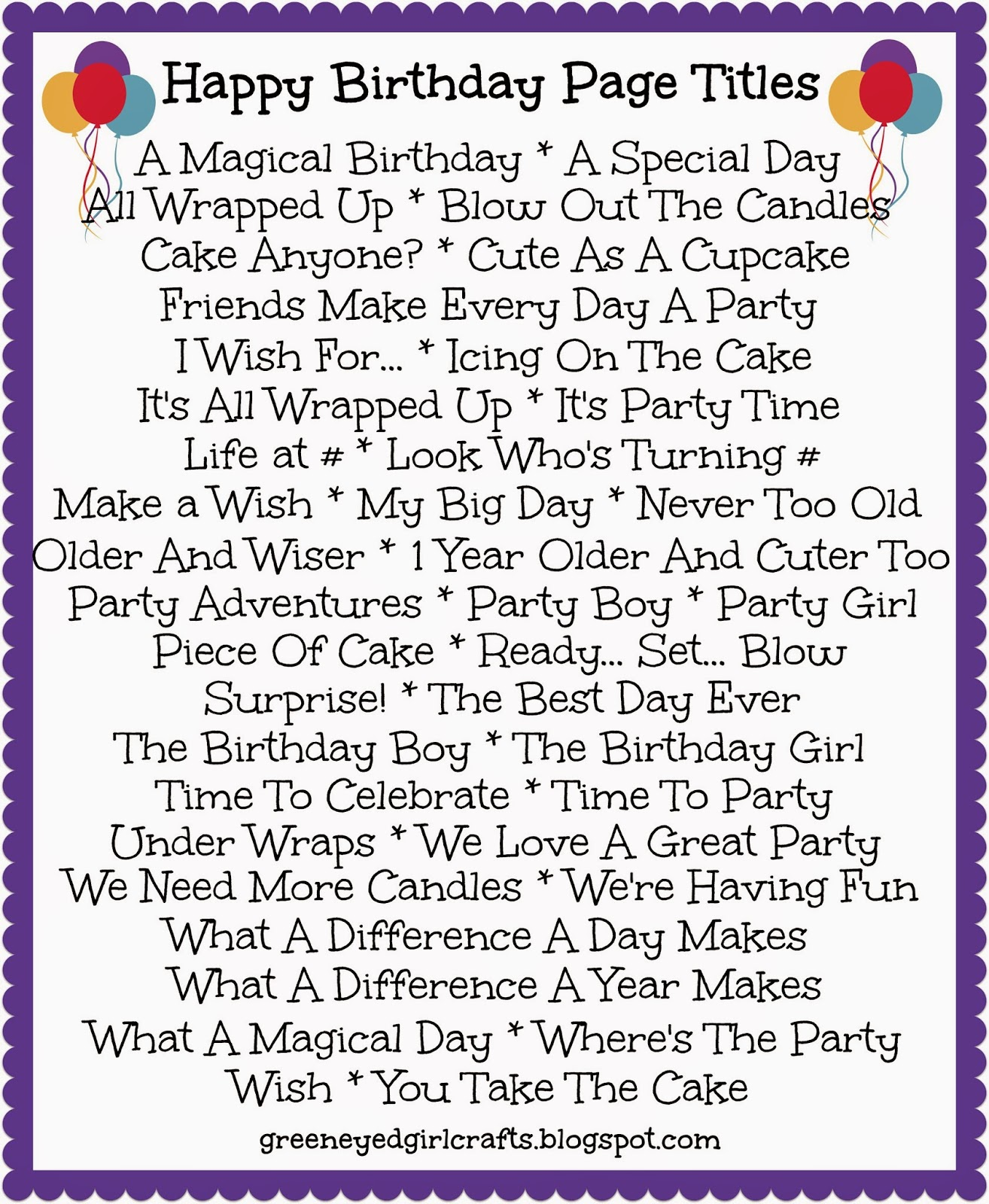 Green Eyed Girl Crafts Birthday Title Pages