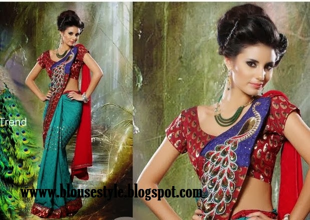 latest 2014 fashion peacock design saree