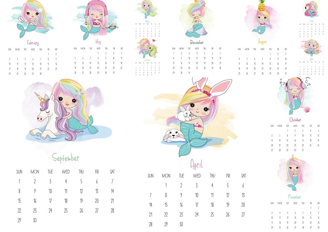 Calendario 2019 English.Mermaids 2019 Free Printable Calendar Oh My Fiesta In