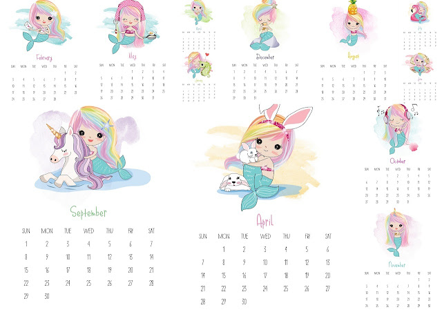 Mermaids: 2019 Free Printable Calendar.