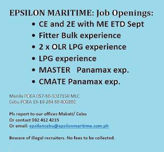 Seaman job hiring work at bulk carrier, LPG and more ships joining october-november-december 2018
