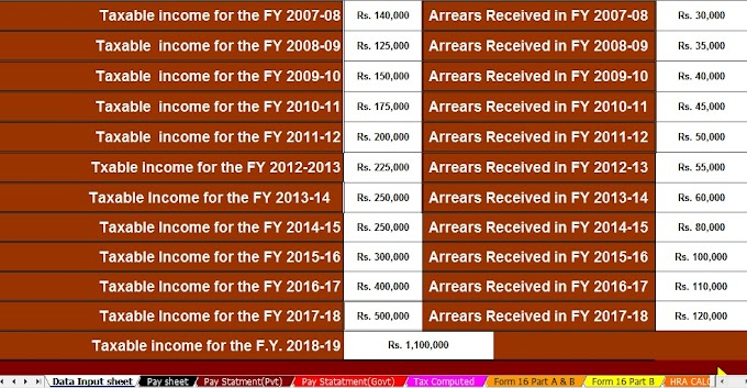 Download Automated Arrears Relief Calculator U/s 89(1) with Form 10E For F.Y.2018-19 AND HOW TO CLAIM RELIEF WHEN SALARY IS PAID IN ARREARS OR IN ADVANCE