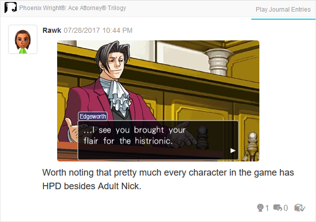 Phoenix Wright Ace Attorney Trials and Tribulations histrionic pesonality disorder