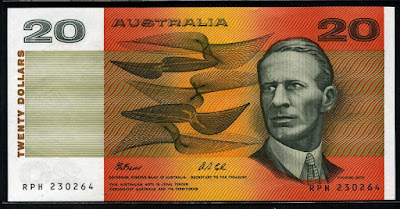 Australian banknotes currency Twenty Dollars money images