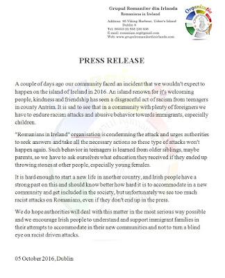 press release antrim romanian racist