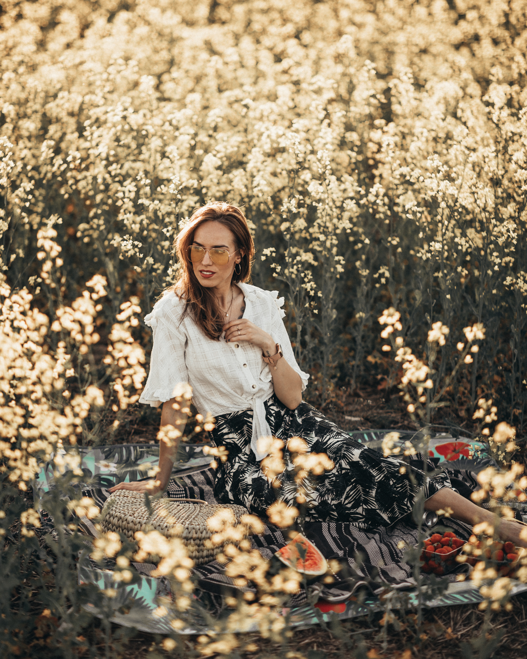 girl flower field summer sunset picnic photography