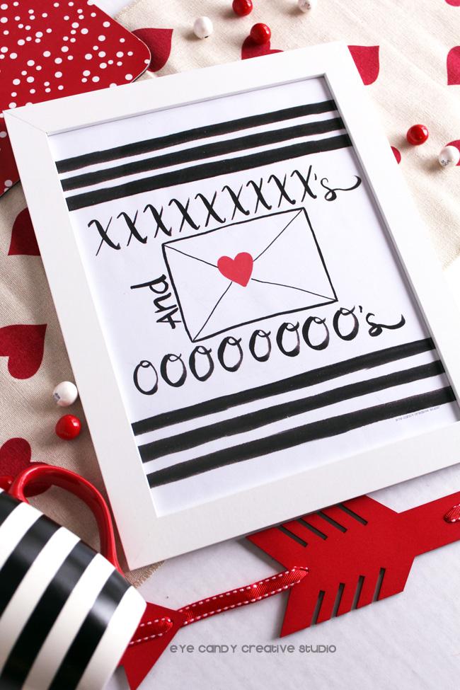 XO, hand lettering, hand drawn valentines art, valentines art print