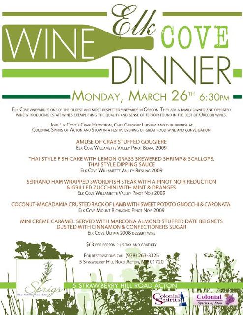 The Wellesley Wine Press: Elk Cove Wine Dinner at Sprigs