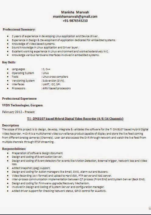 Different types of resume formats for Sample resume for all types of jobs