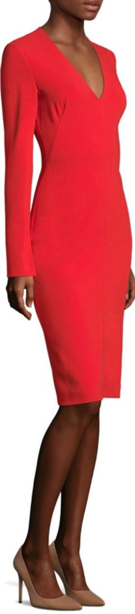 Black Halo Sambora V-Neck Sheath Dress