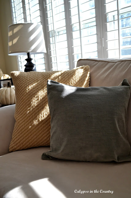 Velvet pillows in fall colors