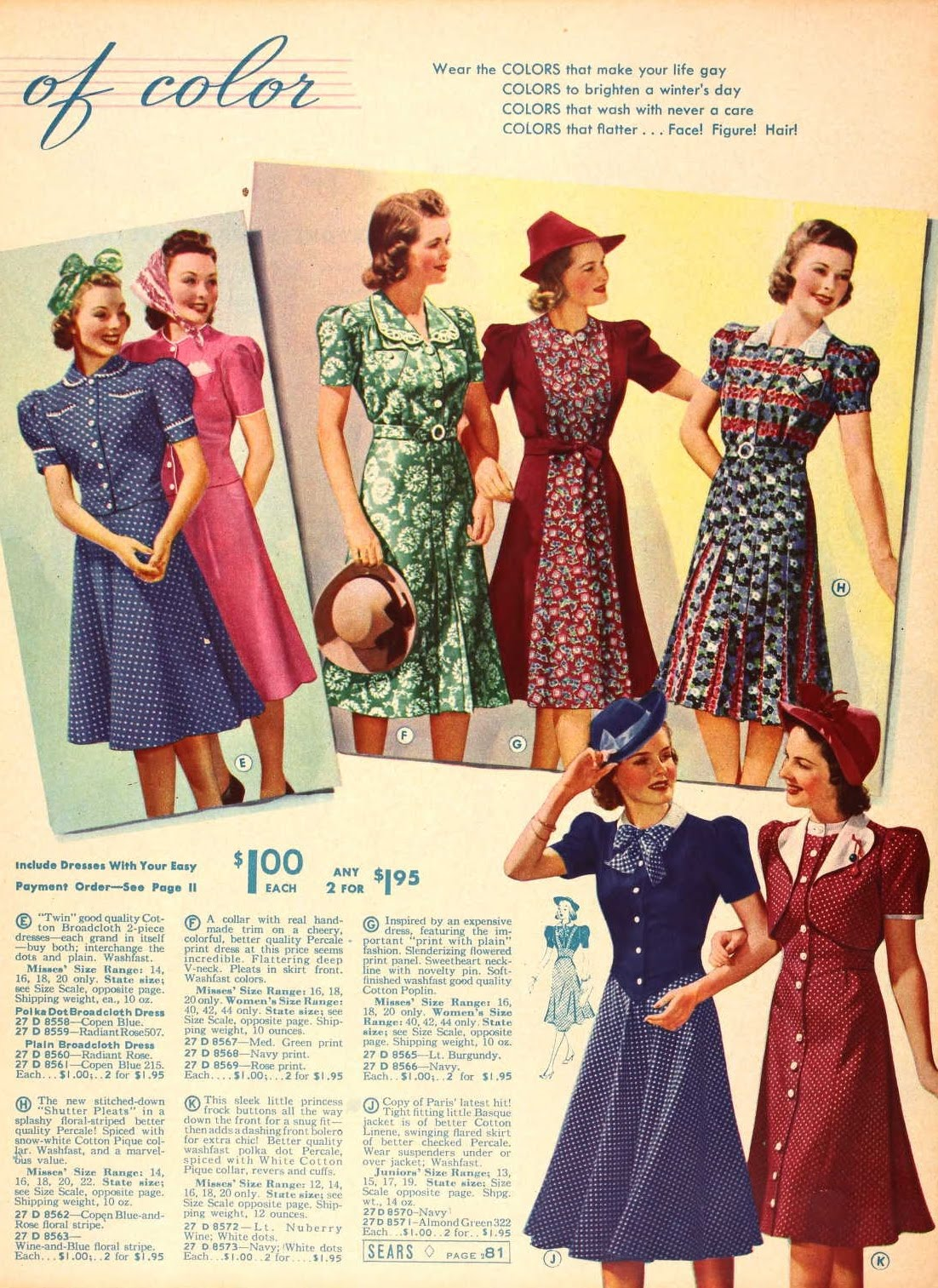 Snapped Garters: 1939 Fashions IN COLOUR