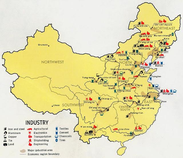 Mapa de las actividades económicas de China