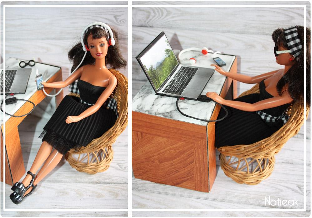 ordinateur,téléphone, souris bureau pour barbie