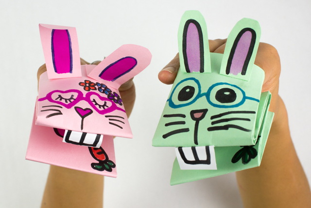 Cute and Easy Paper Bunny Puppets Pink Stripey Socks