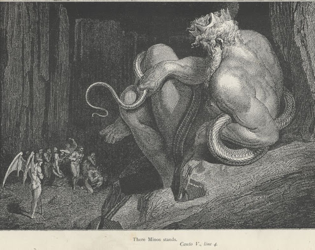 Gustave Doré's illustration of King Minos for Dante Alighieri's Inferno.