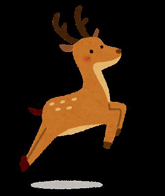 ジャンプをしている鹿のイラスト