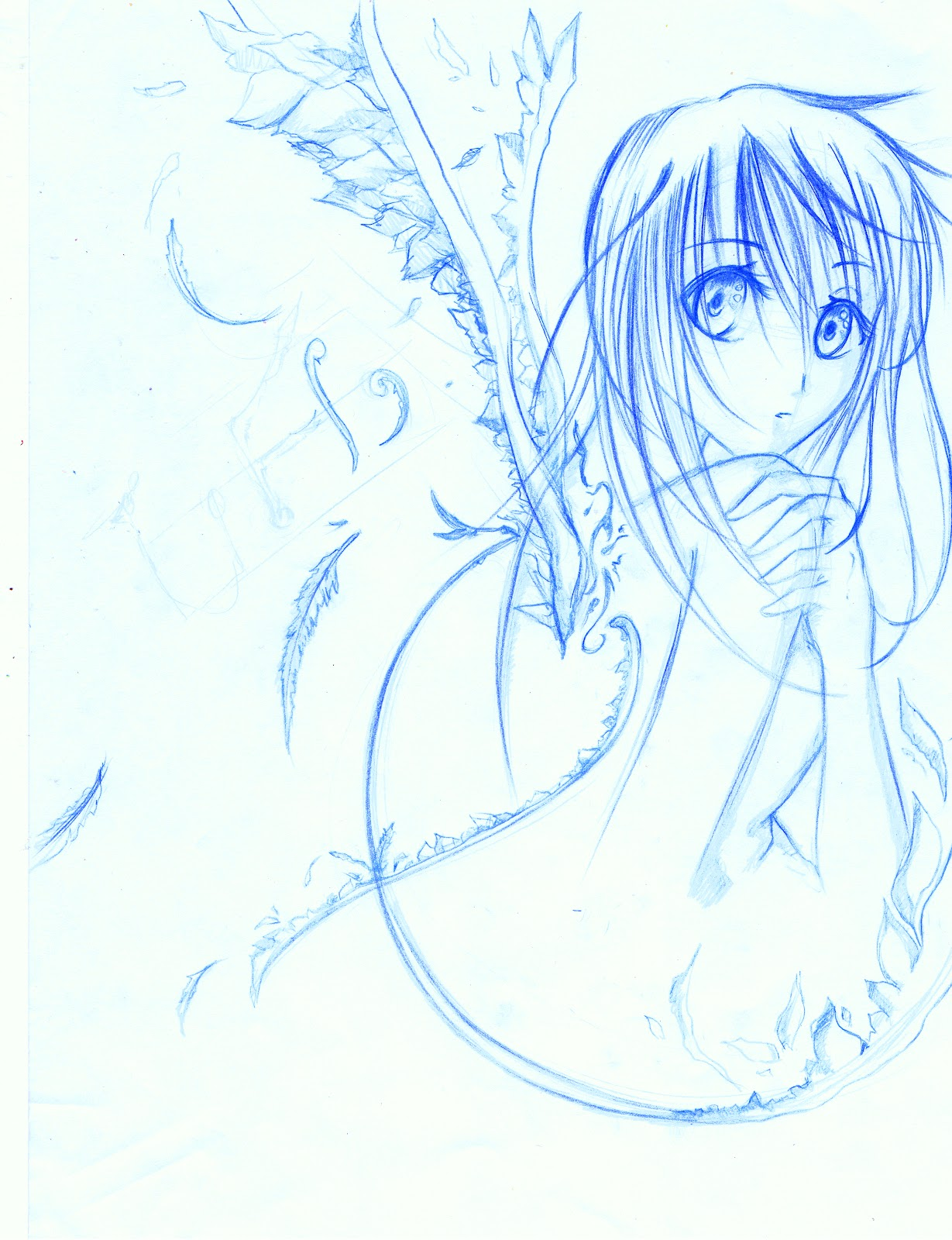 Sketches In Blue Lead Pencil