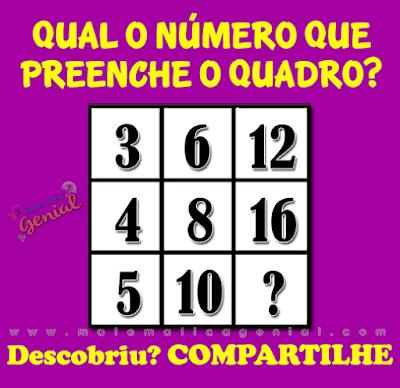 Desafio: Qual o número que preenche o quadro?