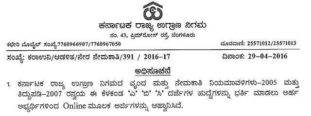 Karnataka State Warehousing Corporation Recruitment