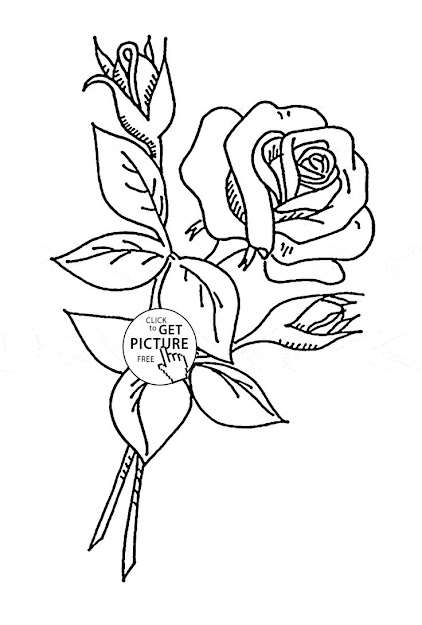 Rose With Buds Coloring Page For Kids Flower Coloring Pages Printables  Free  Wuppsy