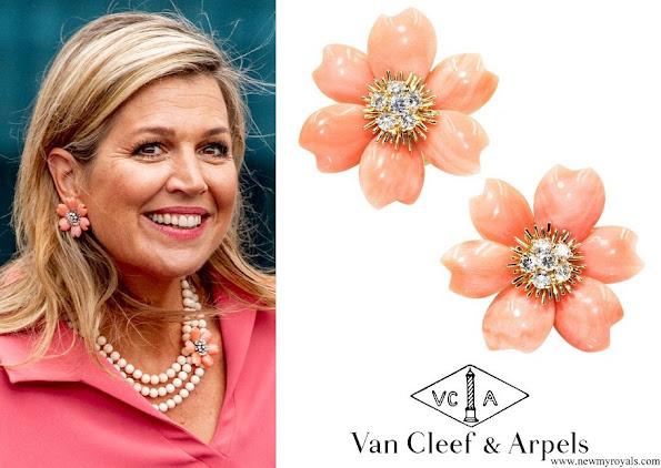 Queen Maxima wore Van Cleef & Arpels Rose De Noel Flower Coral Earrings