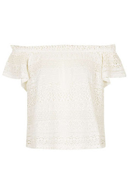 Lace bardot top, $52 from Topshop
