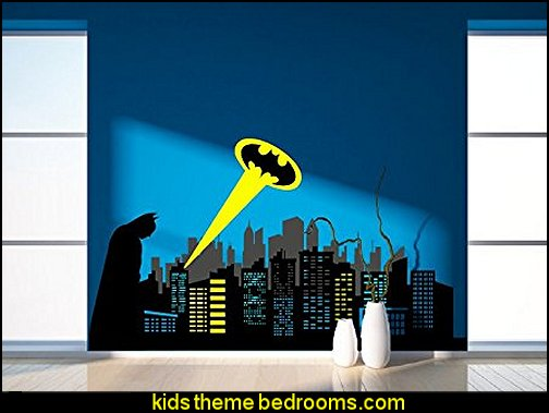 Batman Standing & City Skyline  Wall Art batman bedrooms - batman bedroom decorating ideas - batman furniture - batman murals - batman wall decals - batman bedding - batmobile bed - Batman room decor - batman pajamas - batcave DC Comics Batman - batman comics themed bedrooms - Batman vs Superman Bedrooms - Superhero bedroom ideas -