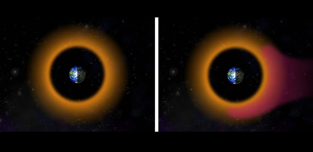 During periods when there are no geomagnetic storms affecting the area around Earth (left image), high-energy protons (with energy of hundreds of thousands of electronvolts, or keV; shown here in orange) carry a substantial electrical current that encircles the planet, also known as the ring current. During periods when geomagnetic storms affect Earth (right), new low-energy protons (with energy of tens of thousands of electronvolts, or keV; shown here in magenta) enter the near-Earth region, enhancing the pre-existing ring current. Credits: Johns Hopkins APL