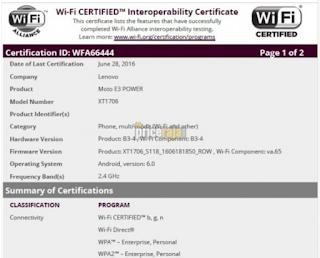 WiFi certified for Moto E3 power