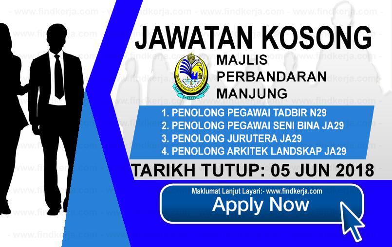 Jawatan Kerja Kosong MPM - Majlis Perbandaran Manjung logo www.findkerja.com www.ohjob.info jun 2018