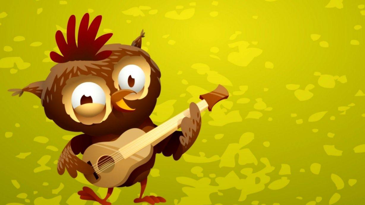 Art Owl Guitar Funny Cartoon Hd Wallpaper Wallpapers Records
