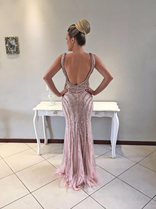 vestido de festa rosa claro bordado