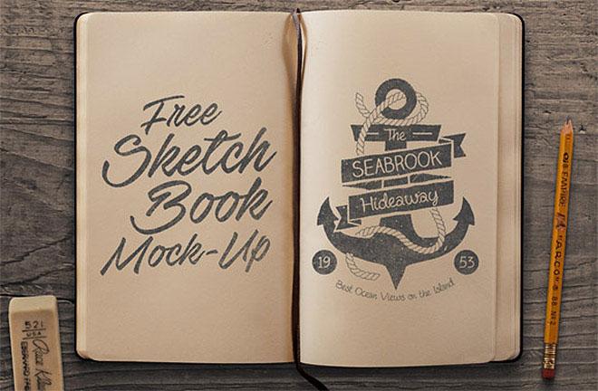 Free Sketchbook Mock-up PSD