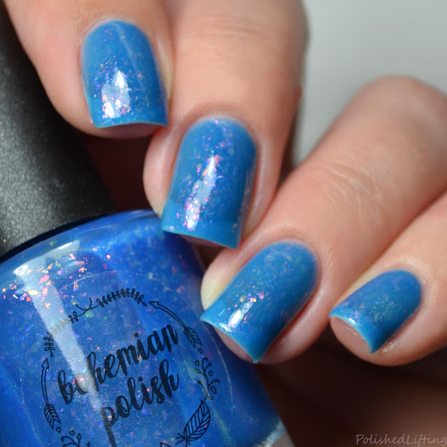 blue jelly polish with color shifting flakie
