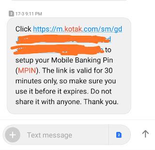 Kotak 811 mpin reset link message