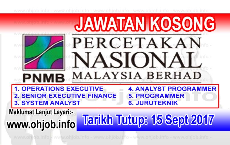 Jawatan Kerja Kosong Percetakan Nasional Malaysia Berhad  - PNMB logo www.ohjob.info september 2017