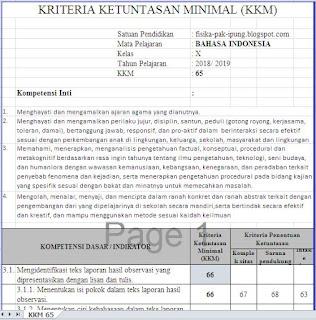 KKM Bahasa Indonesia SMA SMK Kelas X XI XII Kurikulum 2013 Revisi 2018