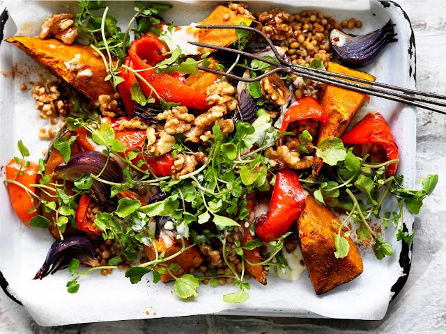 Lebanese roasted pumpkin salad in a tray