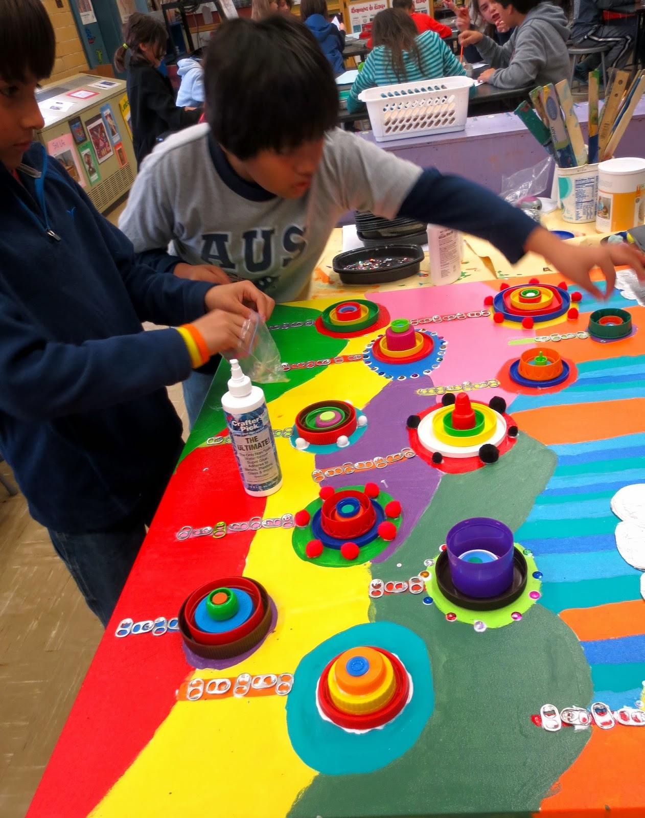 Zilker Elementary Art Class 5th Grade Recycled Art Group