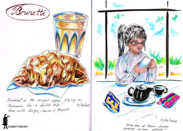 Art diary entries of Marta Tesoro/Rabbit Town Art's time at Brunetti and Mona!