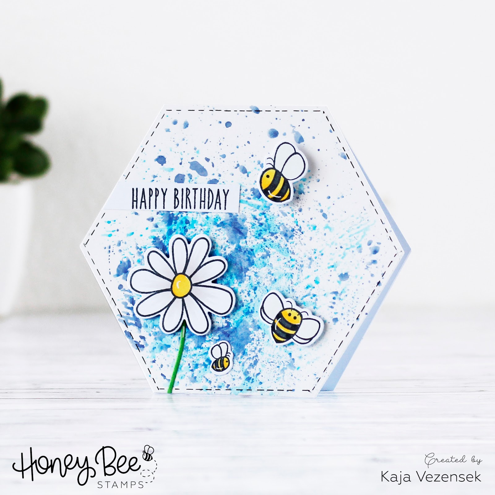 Hexagon ink smooshed card | HONEY BEE