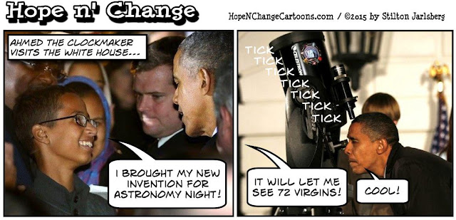 obama, obama jokes, political, humor, cartoon, conservative, hope n' change, hope and change, stilton jarlsberg, CAIR, Ahmed, clockmaker, white house, astronomy, muslim