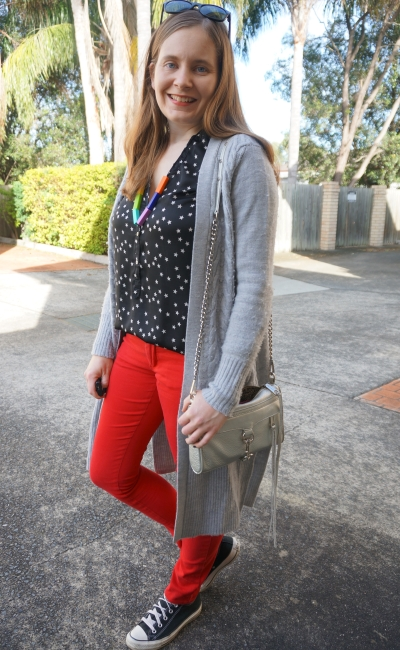 star print shirt, red skinny jeans, wool cardigan: adding colour to winter outfit | AwayFromBlue