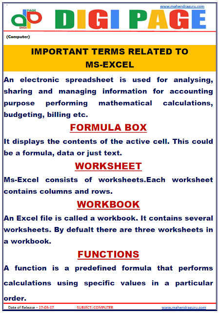 DP | MS EXCEL | 17 - MAY - 17 | IMPORTANT FOR SBI PO