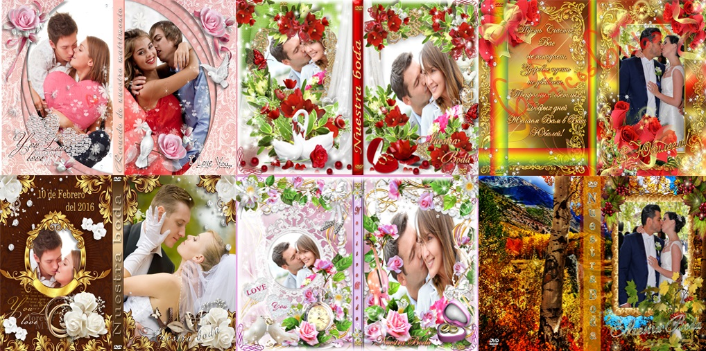 5 DVDs portadas BODAS plantillas psd